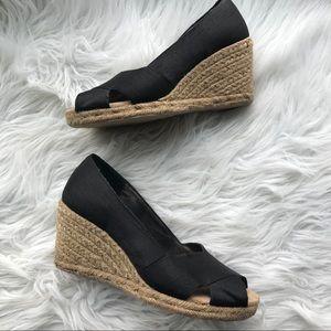 White Mountain Shoes - White Mountain Black Matador Wedge Espadrilles 8.5